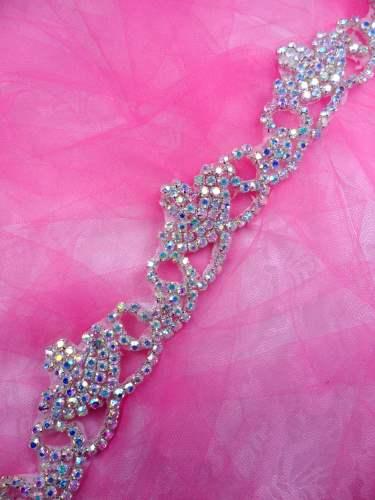 XR243 Rhinestone Crystal Aurora Borealis Elegant Tiara Trim