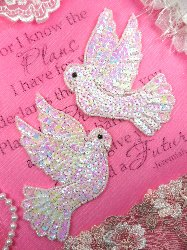 XR244 Mirror Pair White Dove Sequin Appliques Beaded