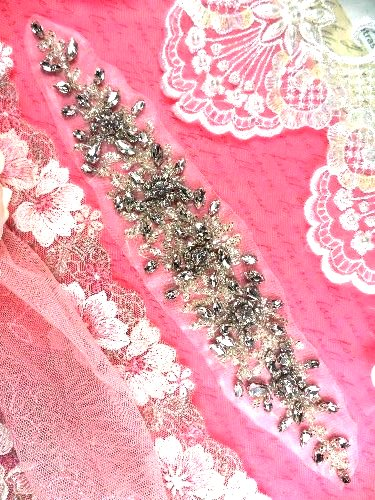 XR248 Crystal Rhinestone Applique Bridal Sash Motif Silver Beaded & Glass 10""