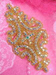XR25 Aurora Borealis Crystal AB Rhinestone Gold Beaded Applique 6""