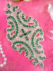 XR25 Crystal Green Glass Silver Beaded Rhinestone Applique 6""