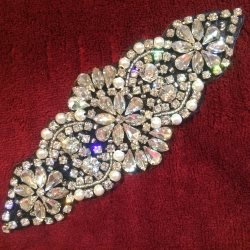 "XR250 Bridal Sash Applique Crystal Rhinestones Silver Beads Black Backing w/ Pearls 6"""