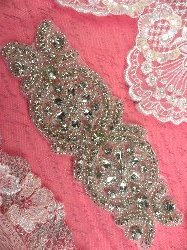XR251 Crystal Rhinestone Applique Bridal Sash Motif Silver Beaded & Glass 6.75""