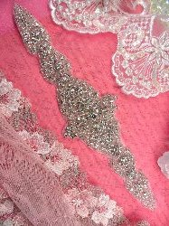 XR252 Crystal Rhinestone Applique Bridal Sash Motif Silver Beaded & Glass 10.5""
