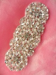 XR255 Crystal Rhinestone Applique Silver Settings w/ Pearls 6""