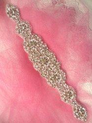 """RMXR257 REDUCED Crystal Rhinestone Applique Silver Settings w/ Pearls 13.75"""""""