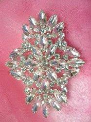 """XR263 Crystal Rhinestone Applique Embellishment Silver Settings 3.5"""""""