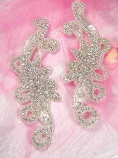 XR27 Crystal Clear Rhinestone Appliques Silver Beaded Mirror Pair 7.5""