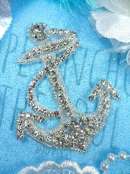 "XR271 ""Anchor For My Soul"" Crystal Clear Glass Rhinestone Silver Beaded Nautical Applique 3.5"""