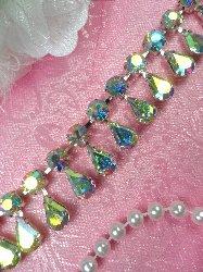 """XR281 Tear Drop Dangles Aurora Borealis Rhinestone Glass Crystal AB Embellishing Trim .75"""""""