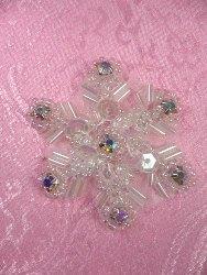 "XR284 Sequin Applique Crystal AB Rhinestone Snowflake 1.5"""