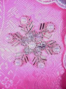 XR284 Sequin Rhinestone Applique Crystal Silver Pearl Snowflake 1.5""