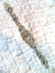 """XR289 Crystal Rhinestone Applique Silver Setting w/ Pearls Bridal Sash Patch Motif 15"""""""