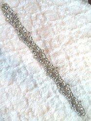 "XR290 Crystal Unlimited Rhinestones Applique Silver Beaded Bridal Sash Patch Motif 17.5"""