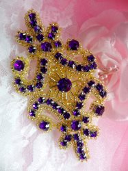 XR295 Purple Rhinestone Gold Beaded Applique 4""