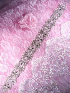 """XR305 Bridal Sash Crystal Rhinestone Pearl Applique Patch Motif 18.25"""""""