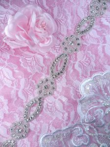 XR310 Crystal Rhinestone Trim Floral Silver Beaded