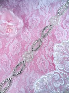 XR311 Pearl Crystal Rhinestone Trim Silver Beaded