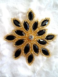 XR32  Applique Black Gold Beaded Snowflake Rhinestone Center 3""
