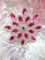 XR32 Applique Fuchsia Silver Beaded Snowflake Rhinestone Center 3""