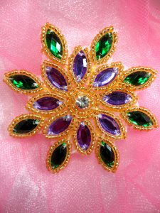 XR32 Mardi Gras Snowflake Jewel Beaded Applique 3""