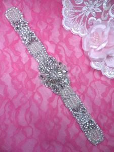 XR322 Bridal Sash Motif Silver Beaded Crystal Rhinestone Applique w/ Pearls 12.25""