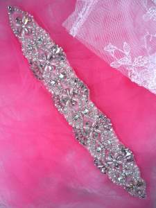 XR324 Bridal Sash Motif Silver Beaded Crystal Rhinestone Applique w/ Pearls 12""