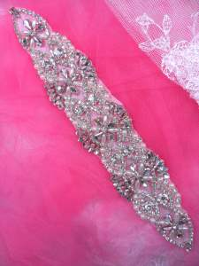 """XR327 Bridal Sash Motif Silver Beaded Crystal Rhinestone Applique w/ Pearls 10"""""""