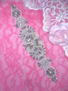 XR328 Bridal Sash Motif Silver Beaded Crystal Rhinestone Applique w/ Pearls 10.5""