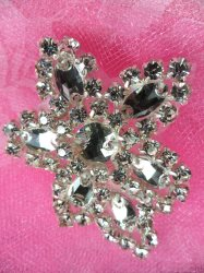 XR330 Crystal Rhinestone Applique Silver Setting 2.5""