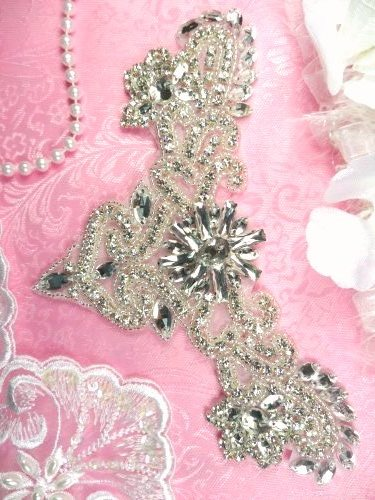 XR335 Bridal Applique Crystal Rhinestone Silver Beaded Yoke 7.75""