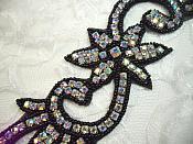 "Black Beaded Crystal AB Aurora Borealis Rhinestone Appliques Mirror Pair Motifs 8"" (XR338)"