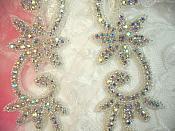 "Silver Beaded Crystal AB Aurora Borealis Rhinestone Appliques Mirror Pair Motifs 8"" (XR338)"