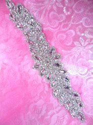XR341 Bridal Sash Crystal Rhinestone Applique Silver Setting 10""