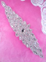 XR342 Bridal Sash Crystal Rhinestone Applique Silver Setting 8""
