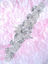 XR343 Bridal Sash Crystal Rhinestone Applique Silver Setting 9""