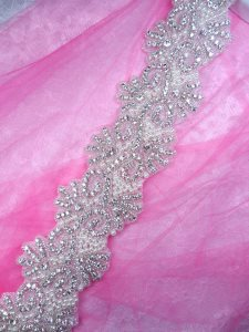 "XR345 (Pieced at 34"") Rhinestone Pearl Beaded Trim 2.5"""