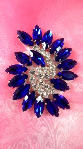 """XR349 Blue Marquise Swirl Crystal Rhinestone Applique 2.5"""""""