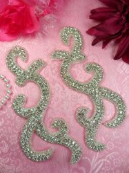 XR350 Crystal Rhinestone Appliques Mirror Pair Silver Beaded 6.5'