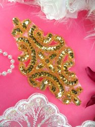 """XR352 Sequin Applique Gold Beaded Bridal Patch 6"""""""