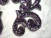 "Sequin Appliques Plum Scroll Designer Beaded Iron On Hot Fix Mirror Pair 7"" (XR357X)"
