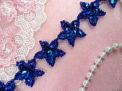 "Star Trim Blue Sequin Beaded Iron On 1"" Banding (XR359-bl)"