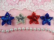 "Patriotic Star Trim Sequin Beaded Iron On 1"" Banding (XR359-pat)"