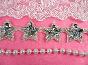 """Star Trim Silver Sequin Beaded Iron On 1"""" Banding (XR359-sl)"""