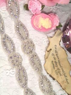 """RMXR36-SLCR  REDUCED  Floral Silver Beaded Rhinestone Trim 1"""""""