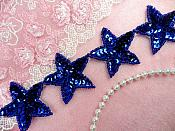 "Star Trim Blue Sequin Beaded Iron On 2"" Banding (XR360-bl)"