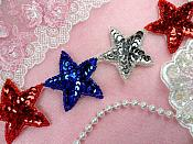 "Patriotic Star Trim Sequin Beaded Iron On 2"" Banding (XR360-pat)"