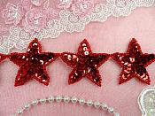 "Star Trim Red Sequin Beaded Iron On 2"" Banding (XR360-rd)"