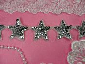 """Star Trim Silver Sequin Beaded Iron On 2"""" Banding (XR360-sl)"""