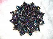 "Black AB Sequin Applique Floral Beaded Iron on Patch 3"" (XR364)"